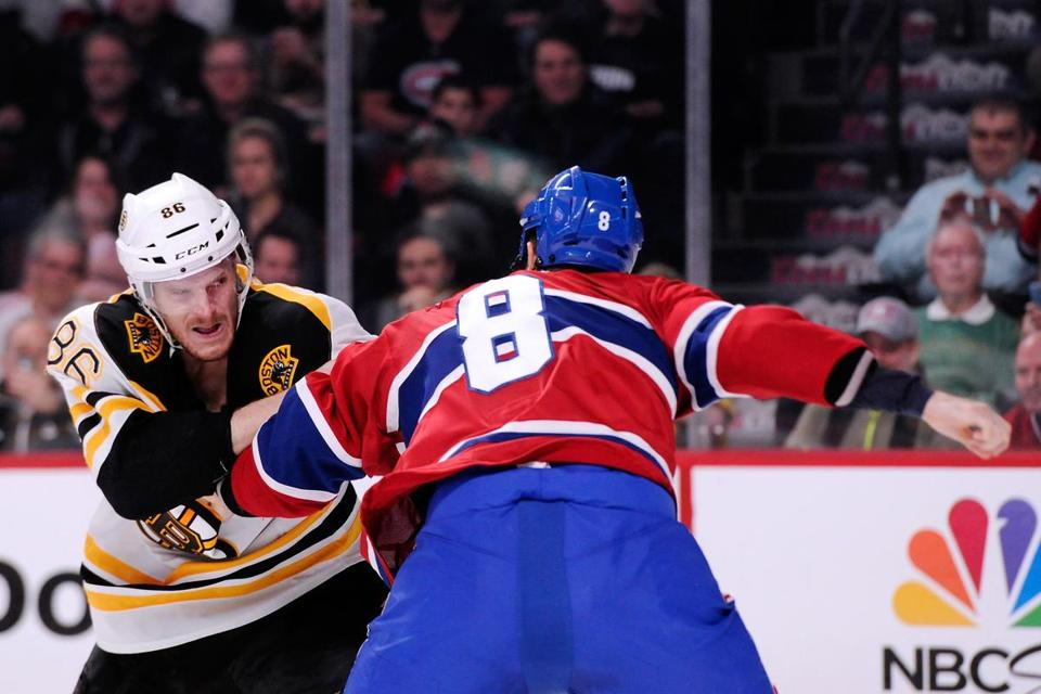 Bruins defenseman Kevan Miller held his own after squaring off with Canadiens tough guy Brandon Prust.